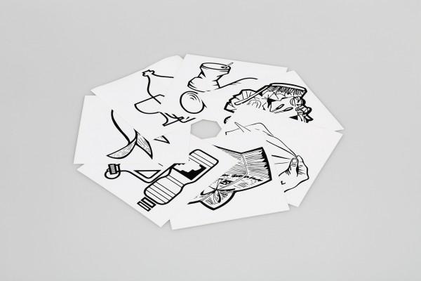 Piktogramm-Aufklebersatz, 7-fach, schwarz/weiß (Wertstoffe, Papier, Restmüll, Glas, Metall, Biomüll,