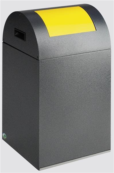 Wertstoffsammelgerät WSG 40 R Korpus antik-silber, Einwurfklappe gelb