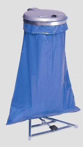 Müllsackständer mit Fußpedal, verzinkt, KS-Deckel silber