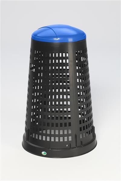 Korbständer aus Kunststoff, schwarz, mit Klemmring und Deckel blau