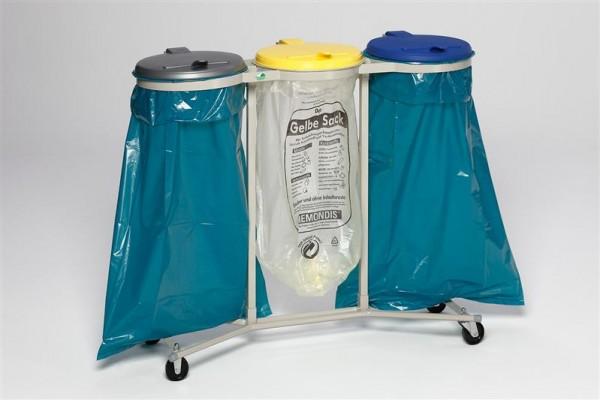 WS 3-fach, fahrbar (4 Rollen), KS-Deckel gelb, blau, silber