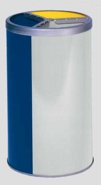 Wertstoffstation 3-fach, ohne Dach, gelb, blau, lichtgrau