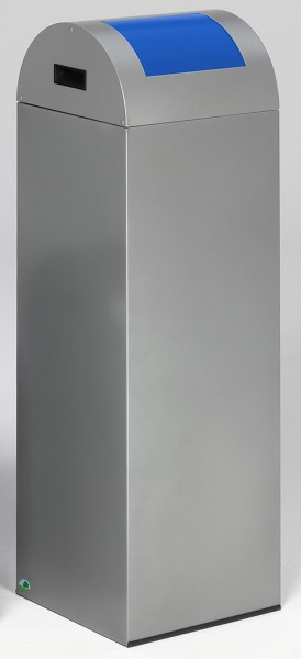 Wertstoffsammelgerät WSG 85 R Korpus silber, Einwurfklappe enzianblau