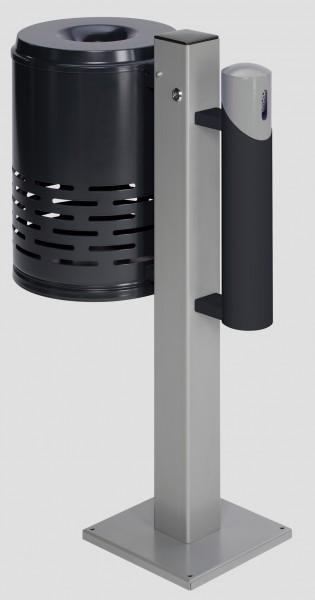 Abfallsammler/Ascher - Kombination AG 101, Abfallkorb anthrazit - Korpus anthrazit - Kopfteil silber