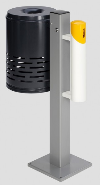 Abfallsammler/Ascher - Kombination AG 101, Abfallkorb anthrazit - Korpus gelb - Kopfteil weiß