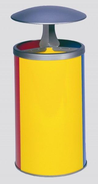 Wertstoffstation 3-fach, mit Dach, gelb, blau, rot