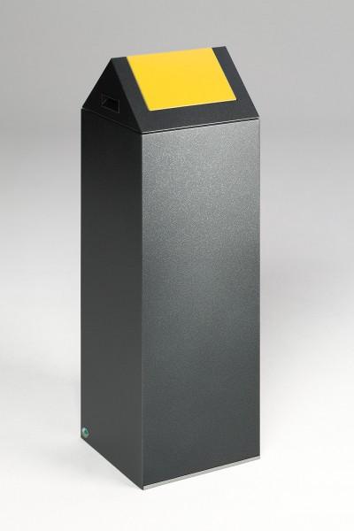 Wertstoffsammelgerät WSG 85 S Korpus antik-silber, Einwurfklappe gelb