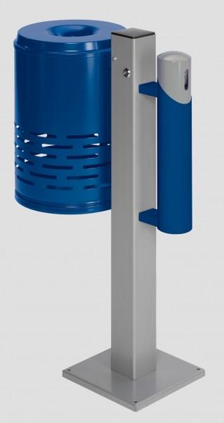 Abfallsammler/Ascher - Kombination AG 101, Abfallkorb enzianblau- Korpus enzianblau-Kopfteil silber